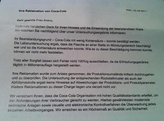 Brief von Coca Cola