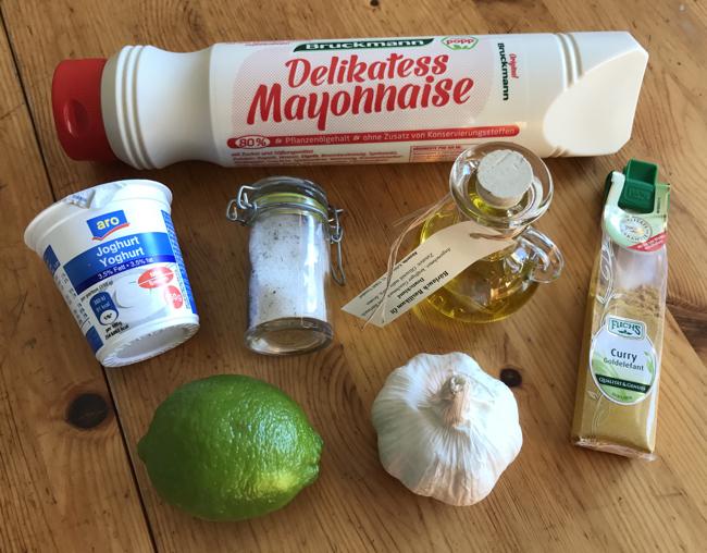 Currysauce und Knoblauchsauce Zutaten
