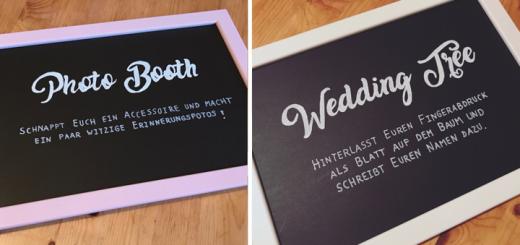 Hochzeits-Schilder im Tafel-Look